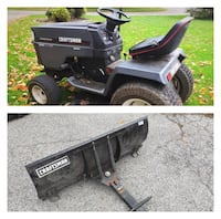 black Craftsman ride on mower with plow blade collage