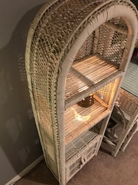 Wicker white arch 3-layered shelf with cupboard West Caldwell, 07006
