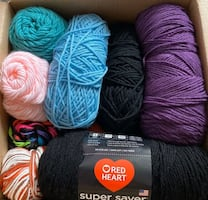 yarn lot + crochet needles