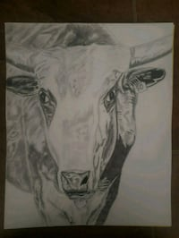 "14"" x 17"" cow drawing on acid free drawing paper Township of Taylorsville, 28681"
