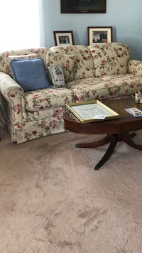 brown wooden framed white and pink floral padded sofa Perry Hall, 21128