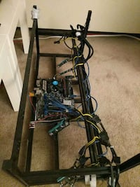 Mining Rig with Asus motherboard, memory card, SSD, all cables