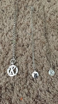 three silver K pendants chain link necklaces Virginia Beach, 23454