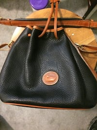 Black and brown dooney & bourke leather bucket bag