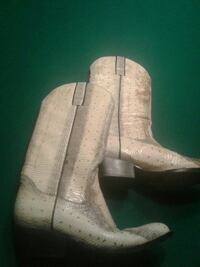 beige-and-gray snakeskin leather round-toe chunky-heeled knee-high riding boots