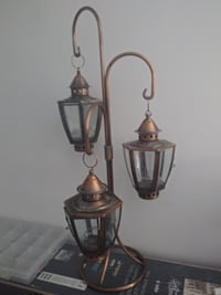 two gray metal candle holders MONTREAL