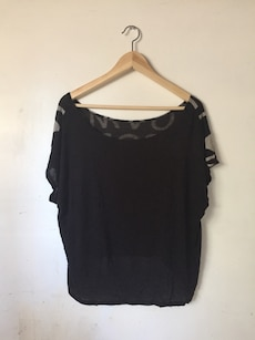 Black and gray boat neck blouse