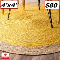 AJ- BRAND NEW- Greiner Hand-Woven Yellow Area Rug 4'x 4' Mississauga