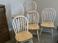 four white-and-brown wooden windsor chairs Canton