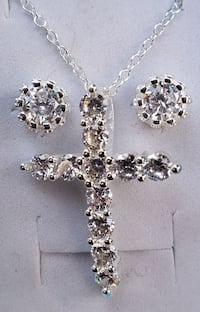 White gold plated cross and earring set