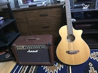 beige cutaway acoustic guitar with brown and black Marshall guitar amplifier base guitar 5strings Calgary, T3C 1T3