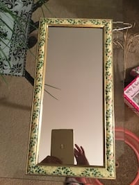 Mirror. Pink and green floral frame