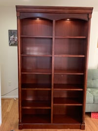 Bookcase with lights and glass shelves