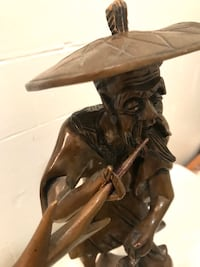 "ART - Vintage ('76) Asian Wood Carved Statue of Fisherman (13""H x 6""W) Ansonia, 06401"