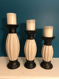 Three Decorative Candle Holders with Candles