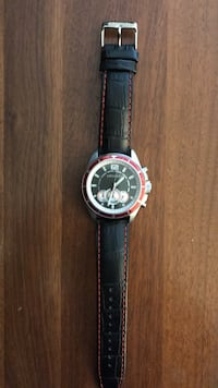 Men's Argenti silver watch with black leather strap