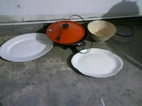 two white and red ceramic bowls