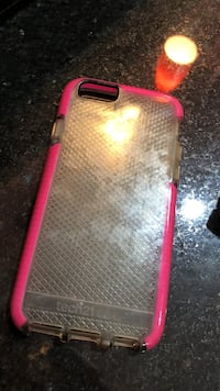 pink and clear plastic Tech21 iPhone case Mission, 78573