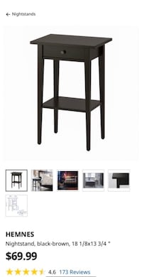 """HEMNES Nightstand black-brown, 18 1/8x13 3/4 """" Side table with drawer Fairfax, 22030"""