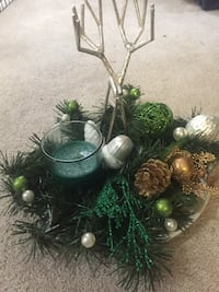 green christmas decor with candle