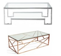 New stainless steel glass coffee tables- chrome or golden Toronto