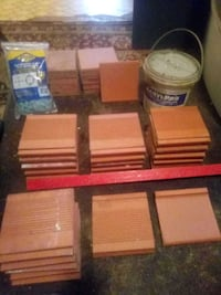 Reduced: Terracotta 6 x 6 ceramic tile and glue and spacers