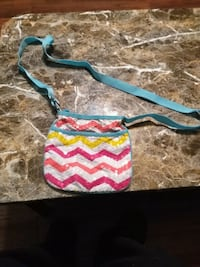 pink, blue, and white chevron print sling bag Pink Hill, 28572