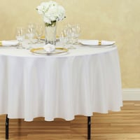 12- 90 IN. ROUND POLYESTER TABLECLOTH WHITE Herndon, 20171