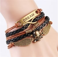 NEW Infinity Skull Wings Leather Charm Bracelet Calgary