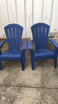 2  plastic matching  adirondack chairs one with minor crack on top Columbus, 43228