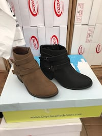 brown and black city classified shoes suede chunky-heeled side-zip biker booties with box Modesto, 95358