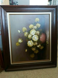 white and red flower painting with brown wooden frame Welland, L3B 5N5