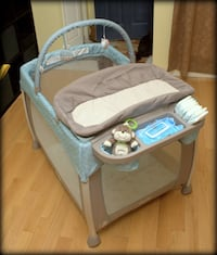 baby's gray and blue travel cot Mississauga, L5W 1V2