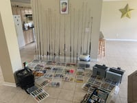HUGE LOT OF RODS, REELS & NEW FISHING PLASTICS,LURES,LEADS & MUCH MORE