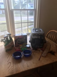 Assorted Cat / Kitty Items: Carrier, Toys, Brush, Bowls, Treats & More