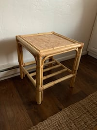 Vintage Rattan bamboo wicker side table