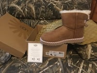 Pair of chestnut mini UGG boots with box