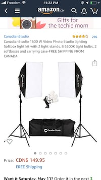 CanadianStudio 1600 W Video Photo Studio lighting Softbox light kit with 2 light stands, 8 5500K light bulbs, 2 softboxes and carrying case- Mississauga, L4Y 3X1