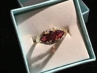 January birthday 10ktgold triple garnet and diamond ring