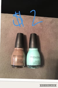 brown and blue SinfulColors nail polishers