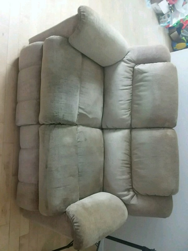 gray suede home theater sofa