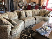 brown and white floral sectional sofa Novi