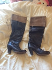 pair of black leather knee-high boots Burnaby, V5J 1X5