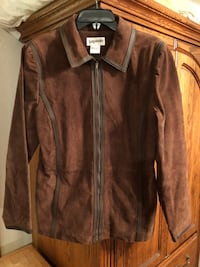Brown suede leather zipper jacket size M Moore, 73160