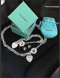 """REDUCED"" BIRTHDAY GIFT? 925 SILVER DESIGNER STYLE NECKLACE, BRACELET  & EARRINGS SET"