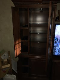 Large like new Hooker tv Armoire with storage, glass shelves and lights Great Falls, 22066