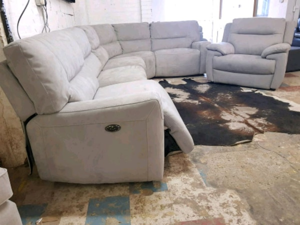 Used X Display Grey Suede Corner Sofa Recliner For Sale In London