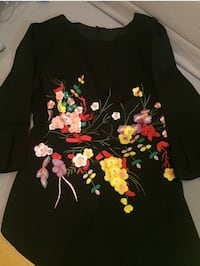 Floral embroidery flare sleeve skater dress