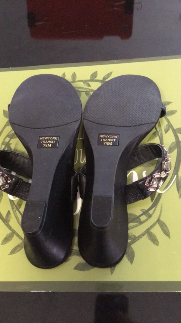 Gently used New York transit size 7 1/2 black jeweled sandals 59aabad0-7cf5-4ec3-9403-578349bb8e75