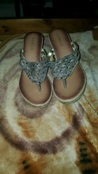 New silver wedge sandals never worn